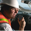 Constraction Worker two-way radio customer